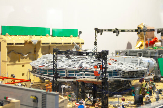 Alcobendas, Spain. October 18, 2018: Lego recreation of a Star Wars shoot with the Millennium Falcon as the setting.