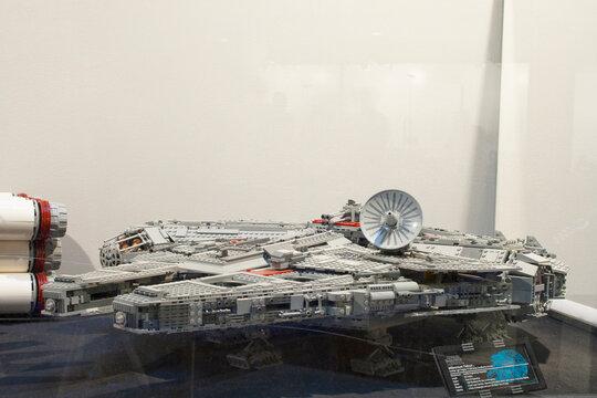 Alcobendas, Spain. October 18, 2018: Lego recreation of a Star Wars Millennium Falcon spacecraft