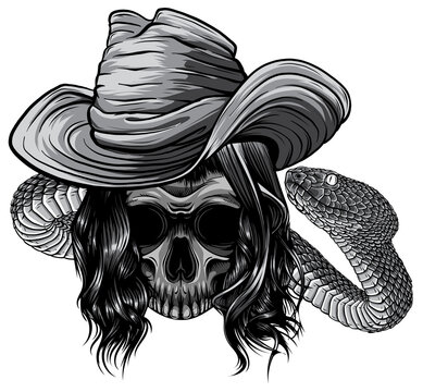 monochromatic skull twisted by a snake with bones vector