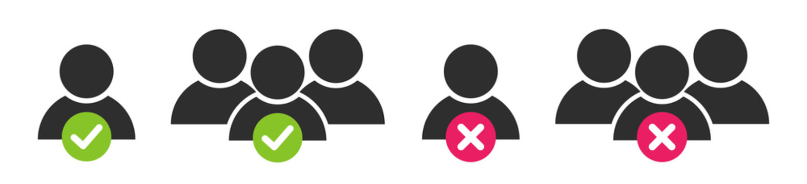 People icons set. User group with check mark and cross sign. Team communication icon symbol. Isolated vector illustration.