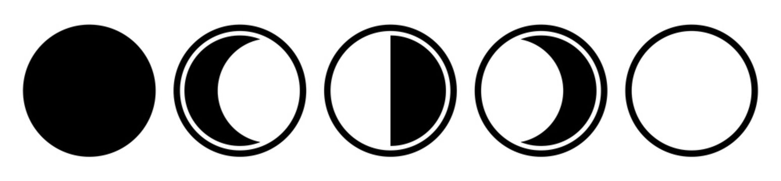 Moon phases. Astronomy icon set. New moon to full moon isolated on white background. Vector Illustration, eps10.
