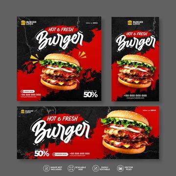 MODERN AND ELEGANT FOOD RESTAURANT FRESH DELICIOUS BURGER BANNER BUNDLE SET FOR SOCIAL MEDIA POST AND INSTAGRAM STORY MENU PROMO TEMPLATE VECTOR