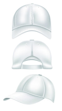 Collection of three white baseball caps isolated on white background. Caps and baseball caps design. Vector illustration
