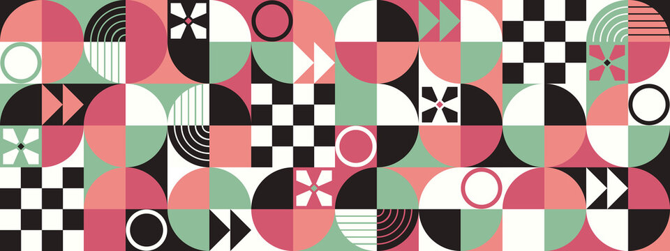 Geometric seamless pattern, retro 50's old fashiones texture fabric illustration