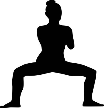 silhouette of a person in yoga goddess pose