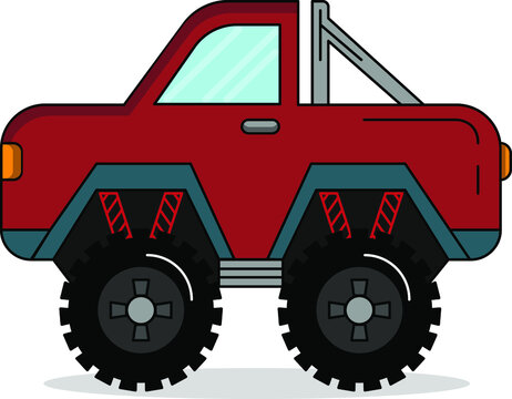 simple cute monster truck perfect for automotive industry