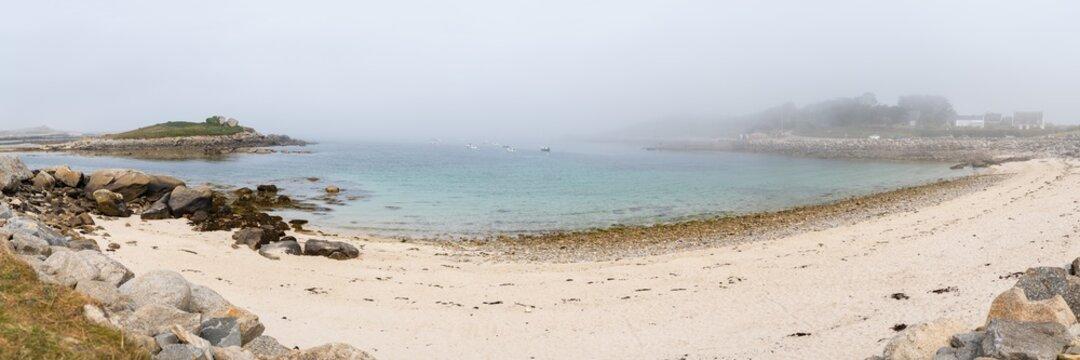 Coast near Plouguerneau on a foggy day in summer
