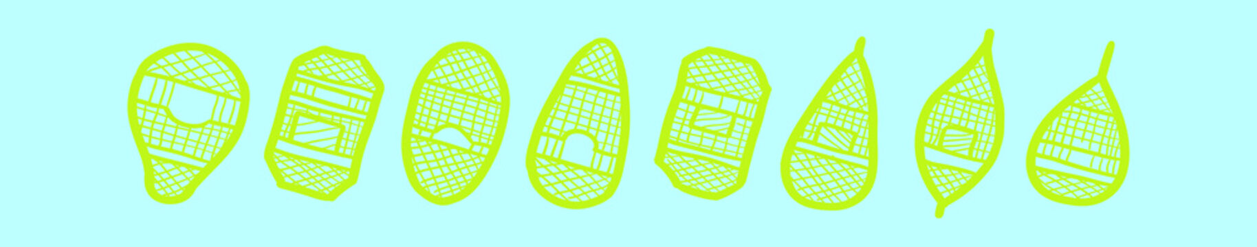set of snow shoes cartoon icon design template with various models. vector illustration isolated on blue background