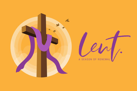 lent, a season of renewal banner with lent cross crucifix in circle sunset and bird flying on yellow background vector design