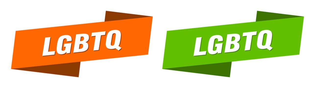 lgbtq banner. lgbtq ribbon label sign set