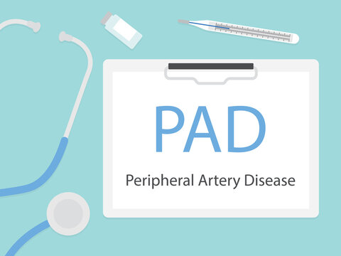 PAD Peripheral artery disease written in hospital patient card - vector illustration