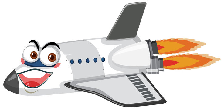 Airplane cartoon character with face expression on white background