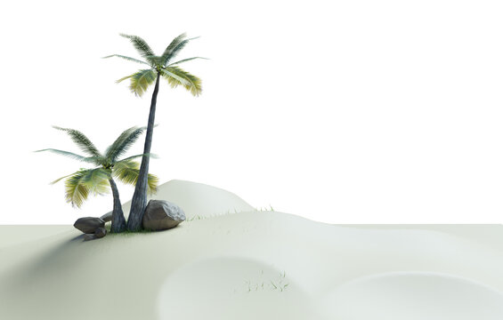Coconut tree in small island, low polygon 3D picture of island on white background with clippings path