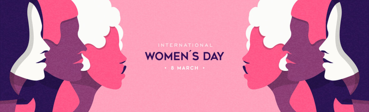 Women's Day pink woman face group banner