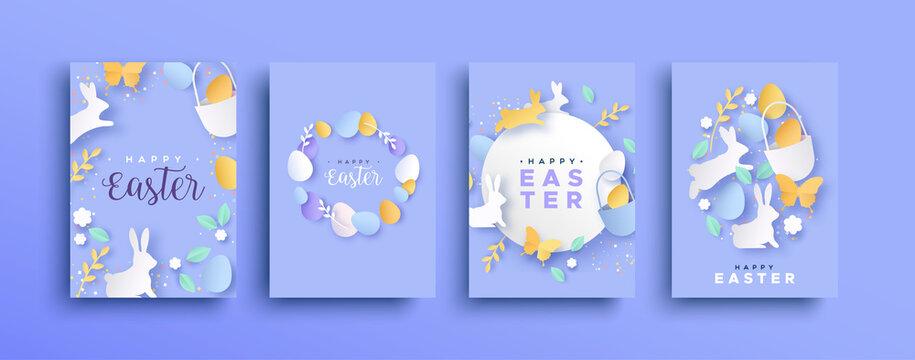 Happy easter spring paper cut rabbit egg card set
