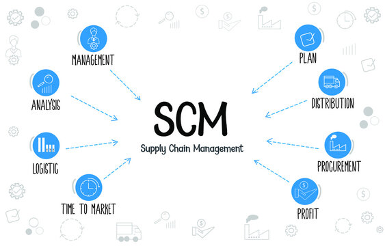 Supply chain management(SCM) process diagram with keywords and icons.  Supply chain management steps and management, analysis, logistic, plan, distribution, procurement, time to market icons.