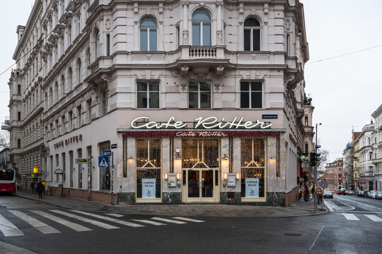 Vienna, Austria - Decembter 19 2020: Cafe Ritter Exterior, a traditional Viennese Coffee House in the Mariahilf District.