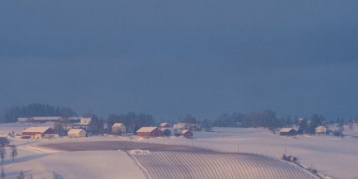Farms at Toten, Norway, in winter.