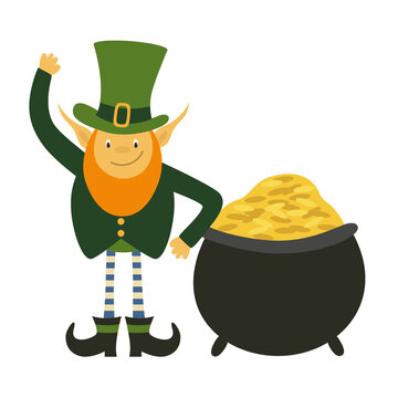 Leprechaun with pot of gold. St Patricks Day cartoon character in green hat lean on cauldron with gold and waving. Flat vector illustration isolated on white background.