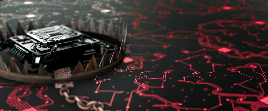 Conceptual bear trap surrounding a modern micro processor on a circuit board from virus threats 3d render