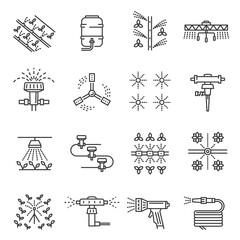 Fototapeta Irrigation farm equipment thin line icons set isolated on white. Sprinkler, plant watering system. obraz
