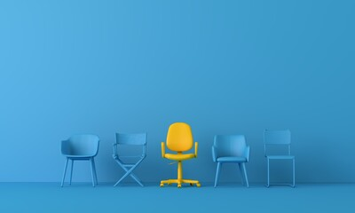 Obraz Yellow chair standing out from the crowd. Business concept. 3D rendering - fototapety do salonu