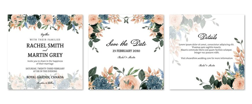 Set of Peach And Blue Rustic Floral Wedding Invitation