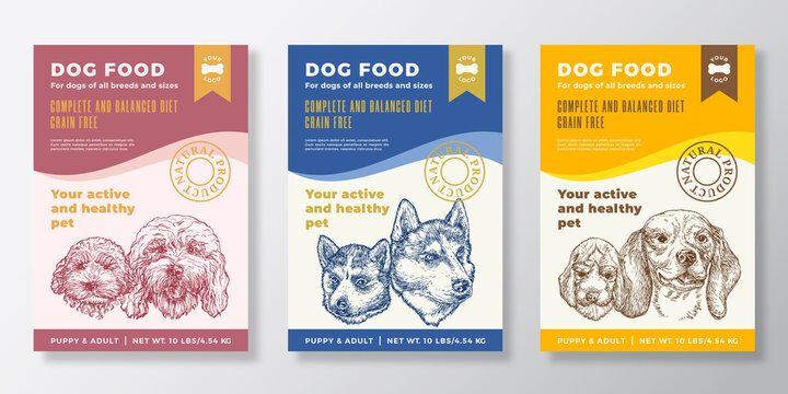 Dog Food Label Templates Set. Abstract Vector Packaging Design Layouts Collection. Typography Banners with Hand Drawn Cockapoo, Husky and Beagle Puppy and Adult Sketch Faces Background. Isolated
