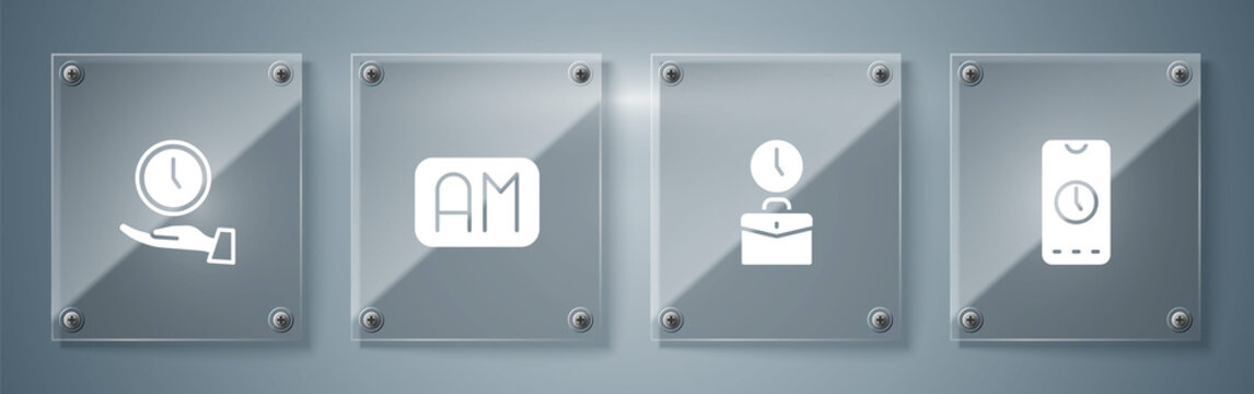 Set Alarm clock app mobile, Work time, Morning and Clock. Square glass panels. Vector.