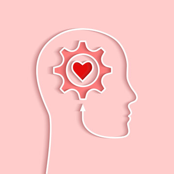 Head outline with gear and heart concept. Vector illustration in papercut style and shadow on light pink background.