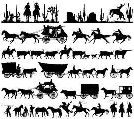 Fototapeta Wild west cowboy with longhorn horse stagecoach carriage icons vector silhouette collection obraz