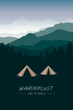 camping adventure tent at green mountain and forest landscape vector illustration EPS10