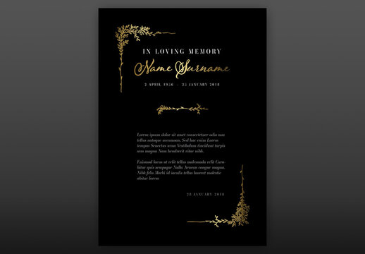 Black Funeral Notice Condolence Card Layout with Floral Golden Elements