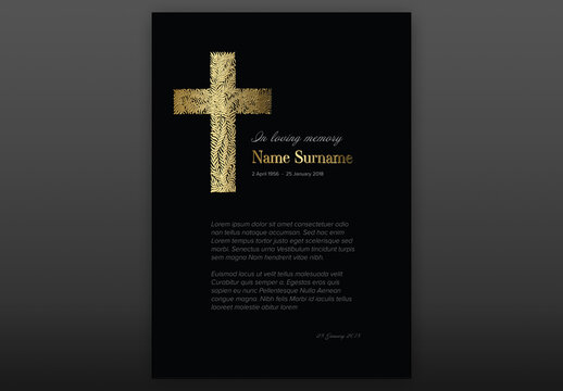 Black Funeral Notice Condolence Card Layout with Golden Cross