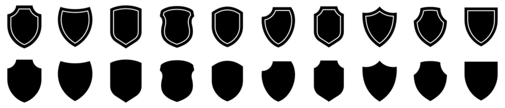 Shield icons set. Protect shield collection vector
