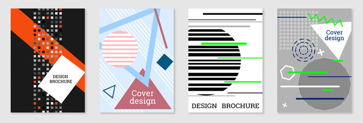 Set of cover design in Memphis style. Geometric design, abstract background. Fashionable bright cover, banner, poster, booklet. Creative colors.