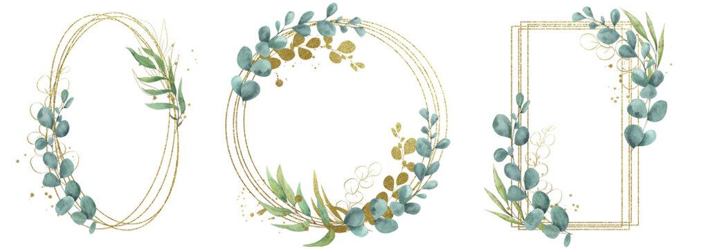 Eucalyptus watercolor frame wedding logo invitation printable