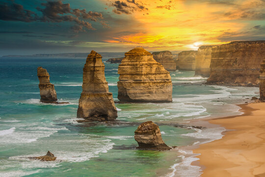 Sunset at the rock formations of The Twelve Apostles in Port Campbell National Park Victoria, Australia