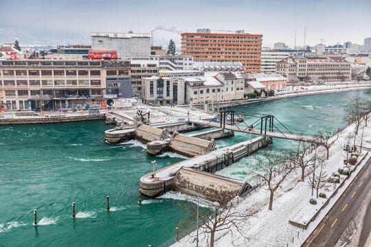 Huge turbulence in water at the water locks on Rhone, Switzerland, Geneva, February 13, 2021.