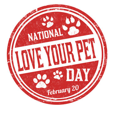 National love your pet day grunge rubber stamp