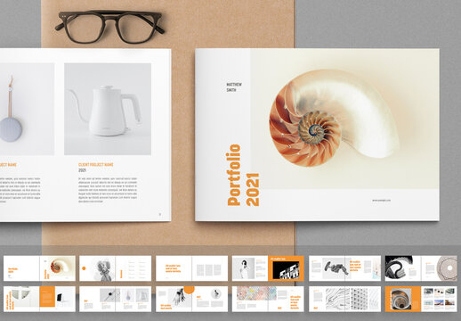 Portfolio Layout with Orange Accents