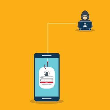 Hacker and sign-in form on fishing hook on the screen of a smartphone. Scam and phishing concept.