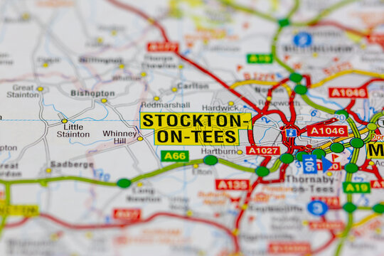 02-19-2021 Portsmouth, Hampshire, UK stockton on tees and surrounding areas shown on a road map or Geography map