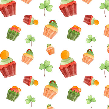 St Patrick's watercolor pattern with bakery elements: green and yellow cupcakes. Cute colorful background for Ireland holiday celebration. Decorative clipart for prints and wallpaper.