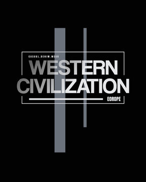 Vector illustration of letters, western civilization, perfect for the design of t-shirts, shirts, hoodies, undershirts, etc.