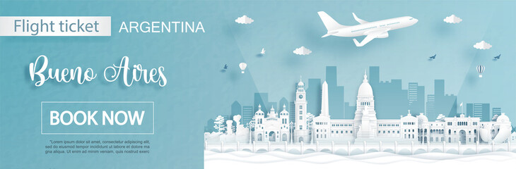 Fototapete - Flight and ticket advertising template with travel to Bueno Aires, Argentina concept and famous landmarks in paper cut style vector illustration