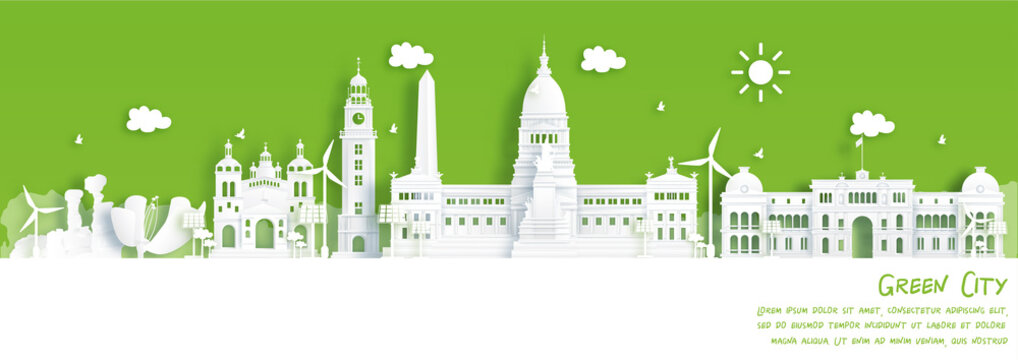 Green city of Bueno Aires, Argentina. Environment and ecology concept in paper cut style. Vector illustration.