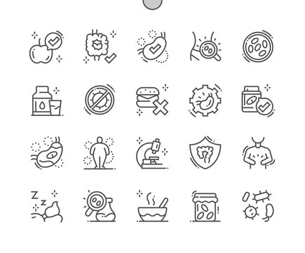 Gut flora. Beneficial bacteria. Protection of intestinal microflora. Stomach ache. Health care, medical and medicine. Pixel Perfect Vector Thin Line Icons. Simple Minimal Pictogram