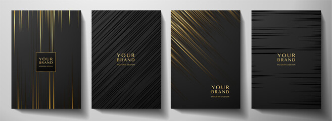 Obraz Modern black stripe cover design set. Luxury creative gold dynamic diagonal line pattern. Formal premium vector background for business brochure, poster, notebook, menu template  - fototapety do salonu