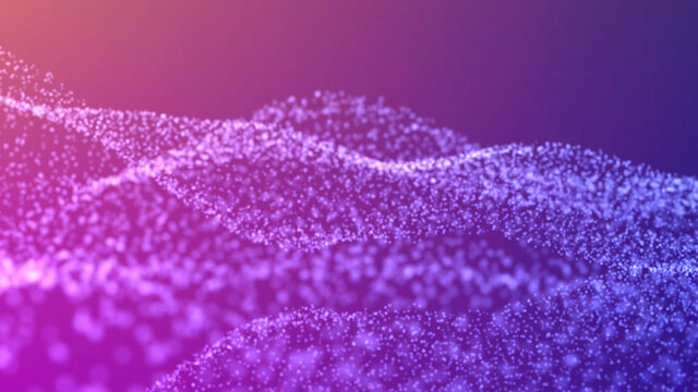 blurred bokeh waves particles. violet-blue gradient on a dark background. beautiful abstract background. universe of technology particle field abstract digital wave.